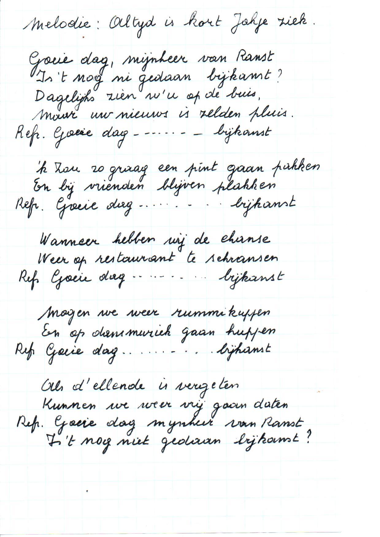 Gusta Maes, liedtekst 'Goeiedag mijnheer Van Ranst', FelixArchief, inv.nr 2903#2.