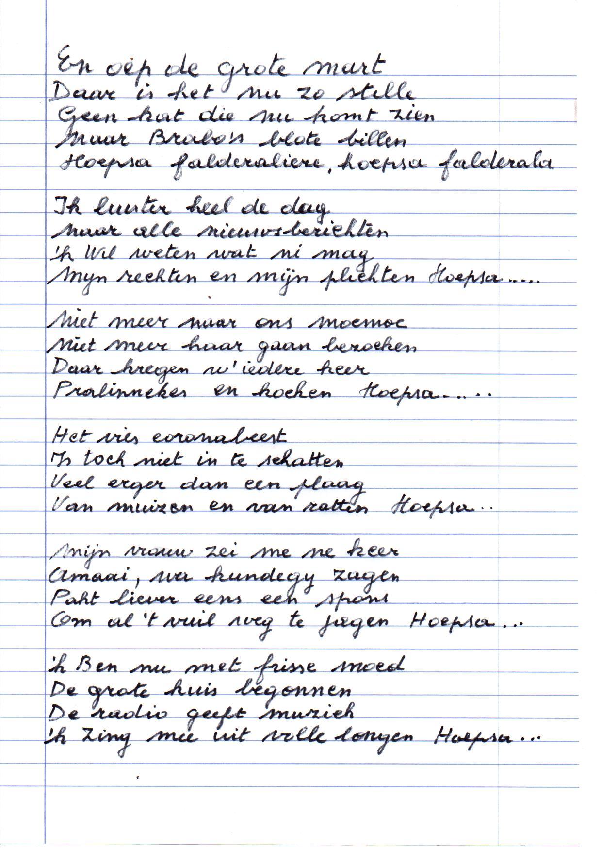 Gusta Maes, liedtekst 'En oep de Grote Mart, daar is 't nu zo stille', Felixarchief, inv.nr 2903#1.