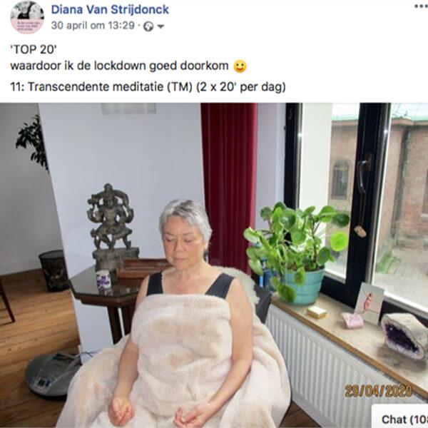 Diana Van Strijdonck, Facebookpost met tip 11 om de lockdown door te komen.