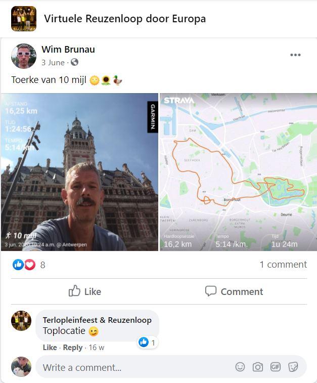 Sportantenne Borgerhout, Facebookpost door Wim Brunau op Virtuele Reuzenloop door Europa, FelixArchief, inv.nr 2922#1.