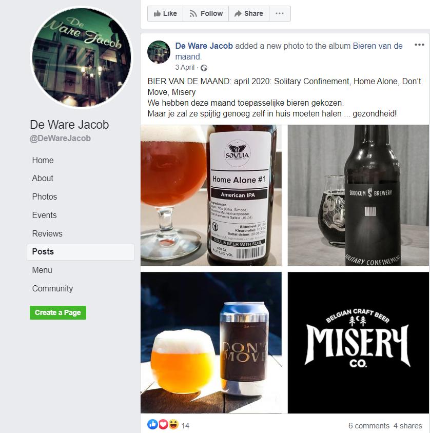 Café De Ware Jacob, Facebookpagina met aangepaste bierlabels, FelixArchief, inv.nr 2931#1.