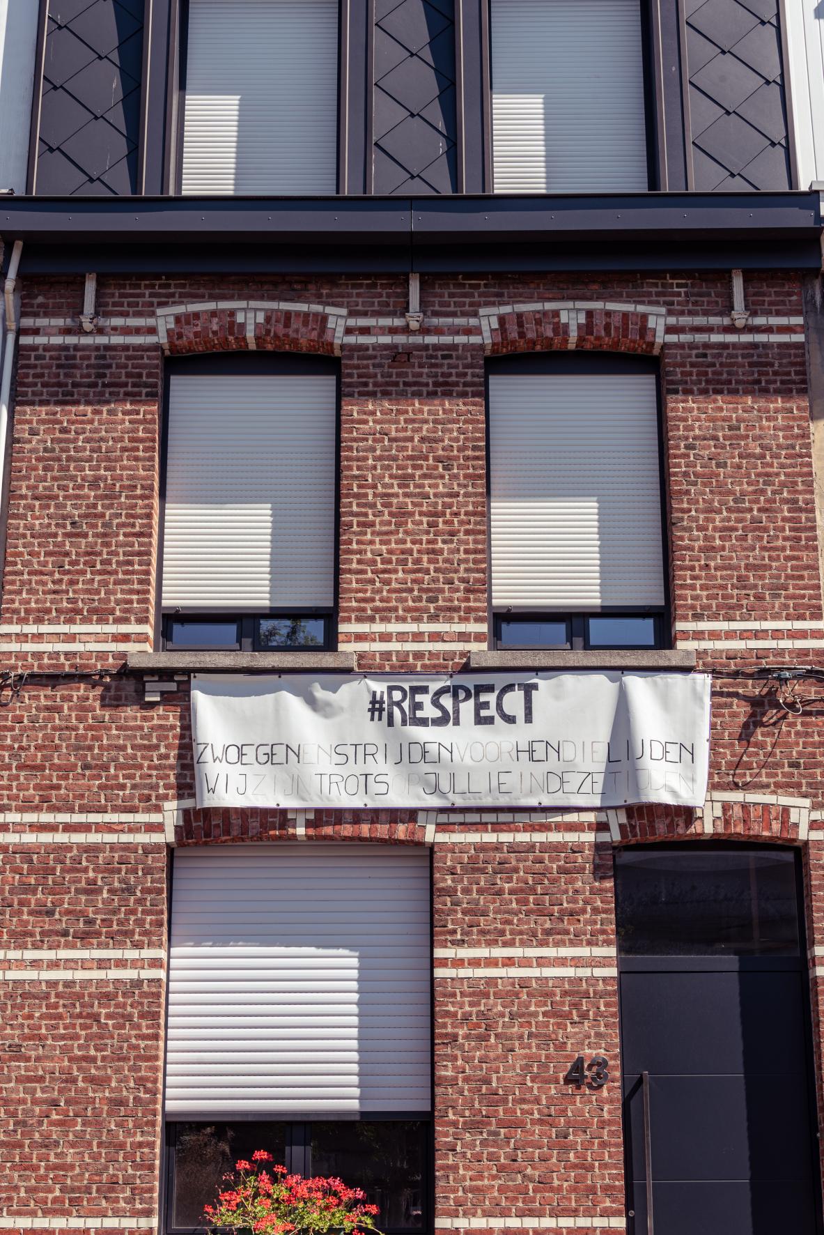 Familie Van Sonhoven - Tas, spandoek #Respect, collectie MAS, inv.nr MAS.0328.007.