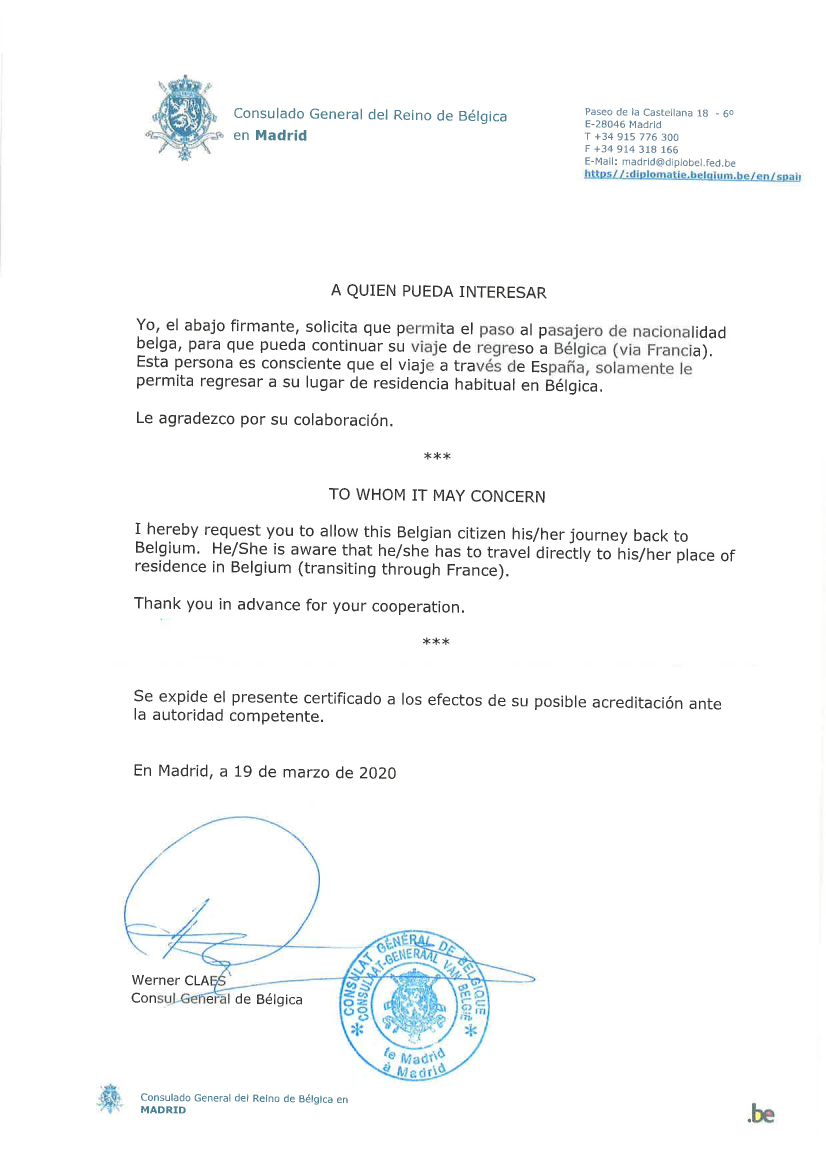 Belgisch Consulaat-Generaal in Madrid, reisdocument voor Hilde Sleypen, FelixArchief, inv.nr 2904#1.